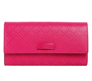 Gucci GUCCI Diamante Hot Pink Leather Continental Flap Wallet 354486