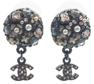 Chanel Chanel Gunmetal Round Multi Stones CC Dangle Piercing Earrings