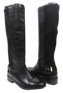Cole Haan Leather Ultrasuede Knee High Tall Equestrian Black Boots