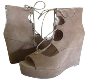 Free People Suede Lace Up Beige Wedges