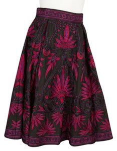 Naeem Khan Skirt Black & Fuchsia