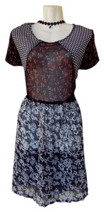 Angie short dress black, red, white Keyhole Pattern Sheer Floral on Tradesy