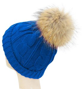 Warm Blue Knit Beanie Winter Hat With Genuine Raccoon Fur Pom Pom