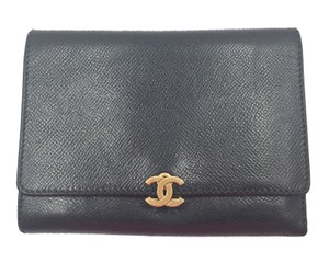 Chanel Authentic Chanel Caviar Black Tri-Fold Wallet