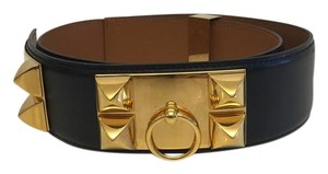 Hermès Hermes Black Calfskin Leather Collier de Chien Medor Belt 85cm