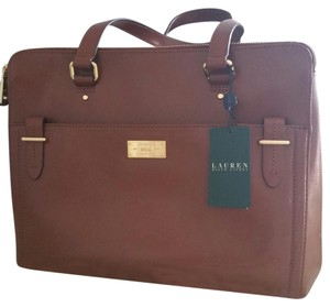 Ralph Lauren Leather Brown Satchel in Bourbon