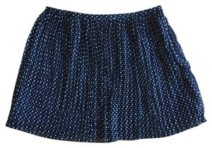 Madewell Brunch Printed Tights School Girl Date Night Mini Skirt Navy Blue and White