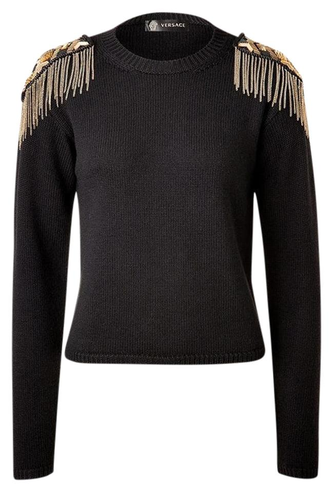 f9bf98cddc8c98 Versace New with Embellished Epaulets Black Sweater - Tradesy