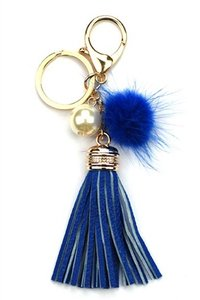 Other Blue Fur PomPom Leather Tassel Pearl Accent Bag/Purse Charm Key Chain