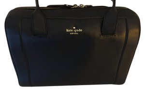Kate Spade Leather Pebbled Gold Hardware Satchel in Black