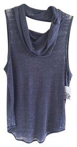 Chaser Vintage Faded Cowl Neck Mini Dress T Shirt Grey Blue