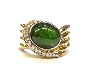 DeWitt's Genuine Green Tourmaline & Diamonds in 14K Yellow Gold Ring Size 6