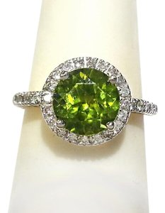 DeWitt's Genuine Green Peridot & Diamonds in 14K White Gold Size 7