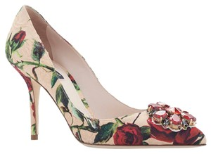 Dolce&Gabbana Floral Italian Couture Designer Nude, Red Pumps