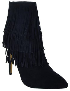 Steve Madden Suede Fringe Leather Flapper Black Boots