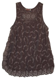 Johnny Was Clothing Lace Eyelet Grey Sleeveless Top slate