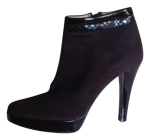 Bruno Magli Suede Patent Leather Brown Boots