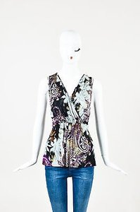 Etro Purple Gray Black Jersey Top Multi-Color