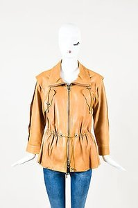 Oscar de la Renta Leather Tan Jacket