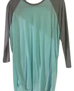 LuLaRoe T Shirt Heathered teal w/ grey sleeves