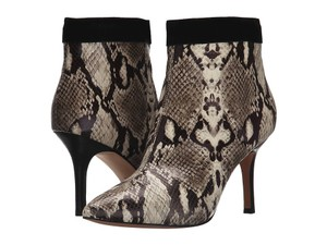 Nicole Miller Snakeskin Leather Ankle Suede Taupe Boots