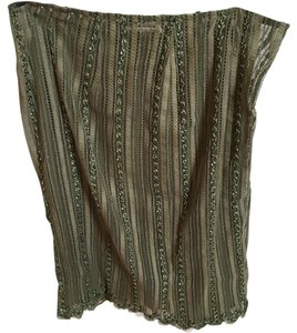 Collette Dinnigan Lace Embroidered Floral Nylon Skirt ARMY/OLIVE GREEN