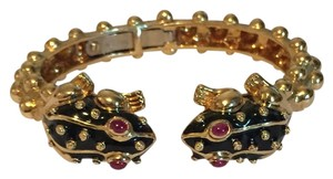 David Webb David Webb 18KT Yellow Gold Ruby Enamel Frog Bangle Bracelet