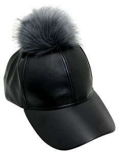 Black Leather Gray Fur Pom Pom Baseball Cap Hat