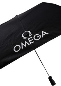 Omega * Omega Watches Compact Umbrella Black With White Logos With Case