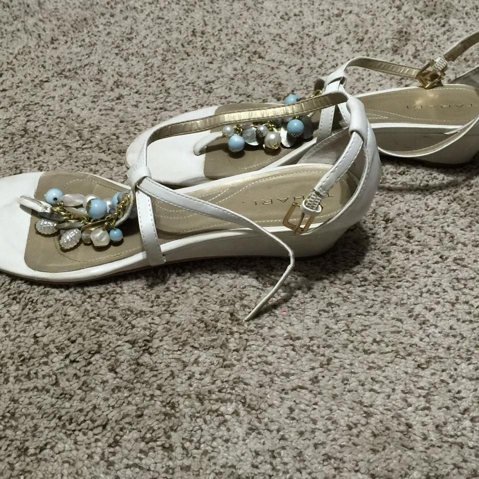 ad83ce608f84 Tahari White Leather Beaded Sandals Size US 8.5 - Tradesy