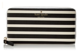 Kate Spade Fairmount Square Lacey Striped Black And Sandy Beach Wallet PWRU4235