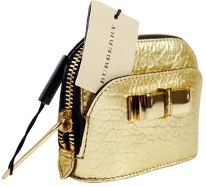 Burberry BURBERRY 'Harrogate' Metallic Leather Coin Purse: MSRP $290