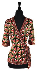 Diane von Furstenberg Geometric Wrap Stretchy Top Multi-Color