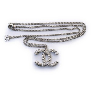 Chanel Chanel CC pendant Silver necklace with rhinestones