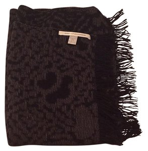 Diane von Furstenberg Black Wool Printed Scarf with Fringe.