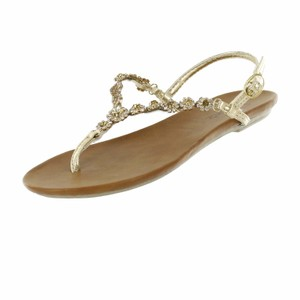Red Circle Footwear Flat Thong Ornament Blingbling Gold Sandals