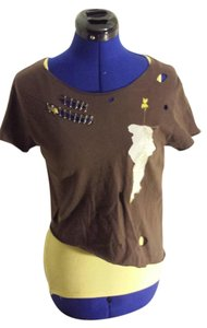 Threadbare Skeleton Shortsleeve Small T Shirt Brown/Yellow