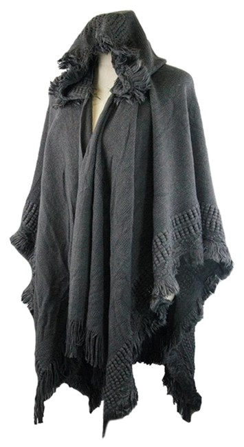 Preload https://img-static.tradesy.com/item/19852654/gray-fringed-trimmed-hooded-wrap-shawl-ponchocape-size-os-one-size-0-1-650-650.jpg