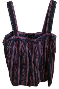 Marc by Marc Jacobs Silk Blouse Geometric Top Black background with reddish stripe/print