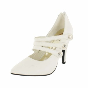 Red Circle Footwear Pointy Triple Straps Mary Jane White Pumps