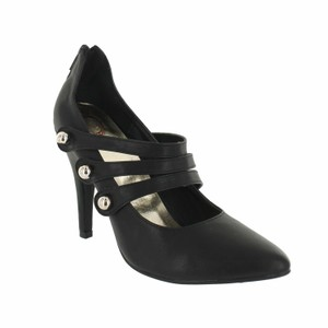 Red Circle Footwear Pointy Triple Straps Mary Jane Black Pumps