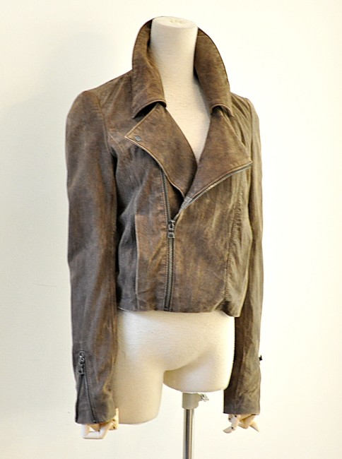NSF brown Leather Jacket Image 2