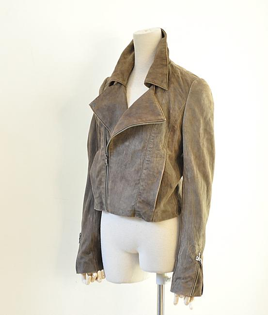 NSF brown Leather Jacket Image 3