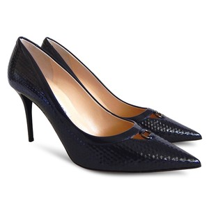 Jimmy Choo Pointed Toe Patent Leather Stiletto Formal Navy Blue Pumps