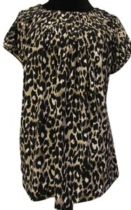 Style & Co Animal Pleated Short Sleeve Top Black, Tan Cheetah Print