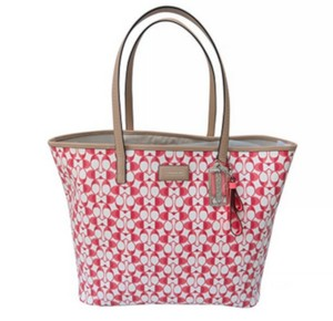 Coach Tote in Pomegranate White
