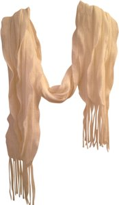 Other Twirling White Cream Waterfall Scarf with Fringes