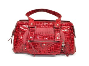 Lululemon Faux Leather Crocodile Pleated Animal Print Satchel in Red