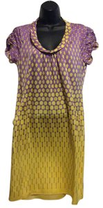 Elie Tahari short dress Yellow/Purple Silk Polka Dots on Tradesy