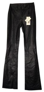 Dolce&Gabbana Leather Hologram Flare Pants dark brown